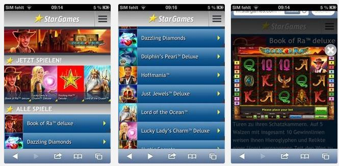 stargames App Screenshot der mobilen Website