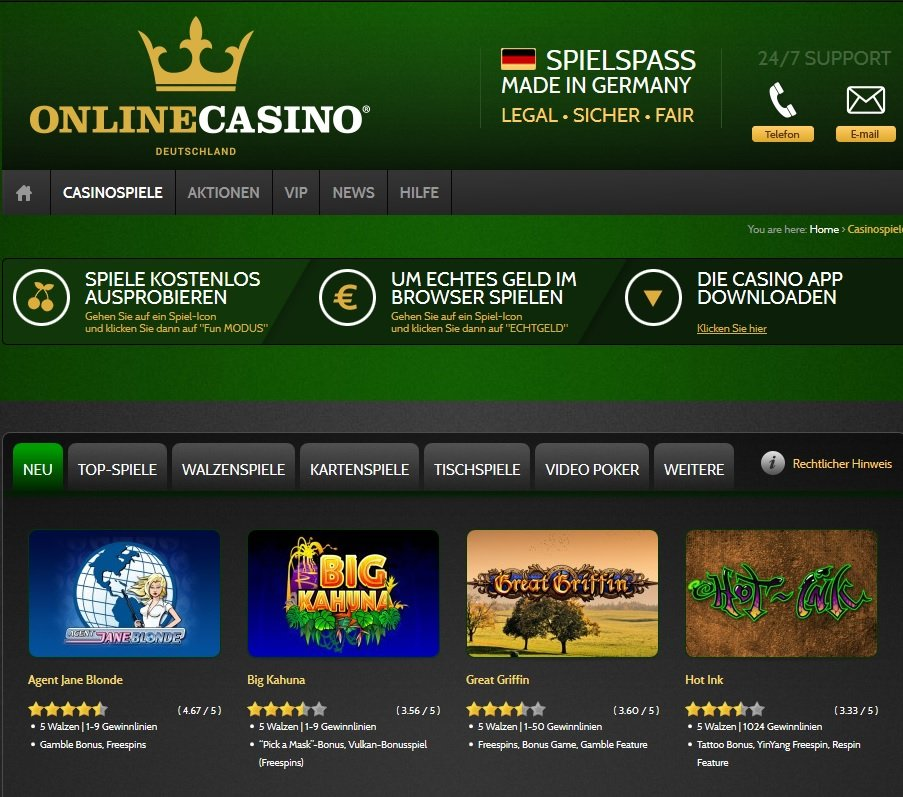 deutschland online casino sizzling game