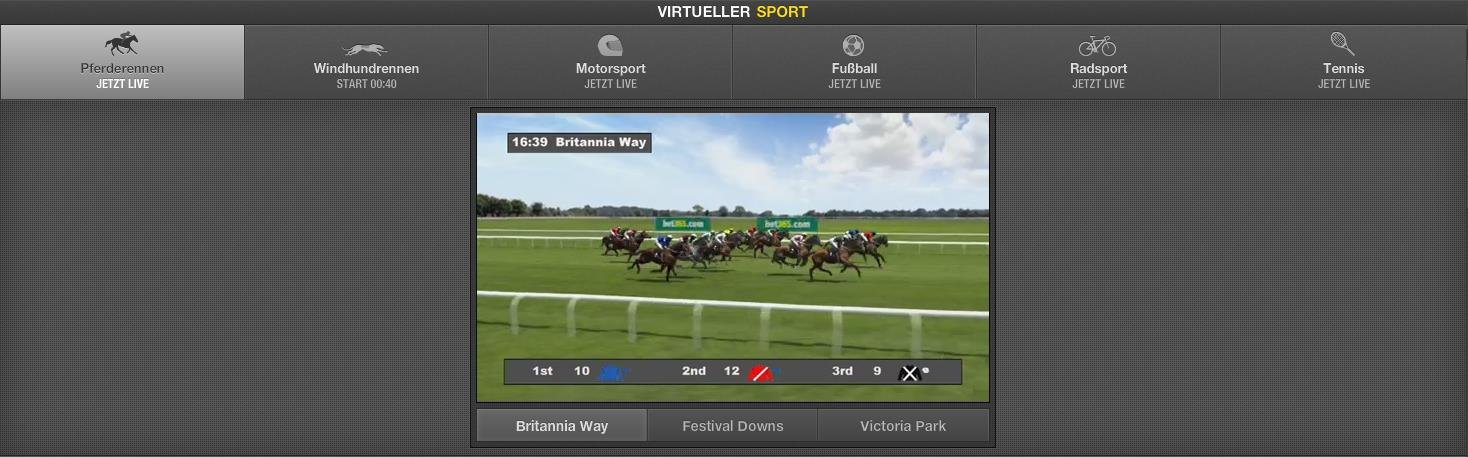 Screenshot des virtuellen Sportangebotes bei Bet365