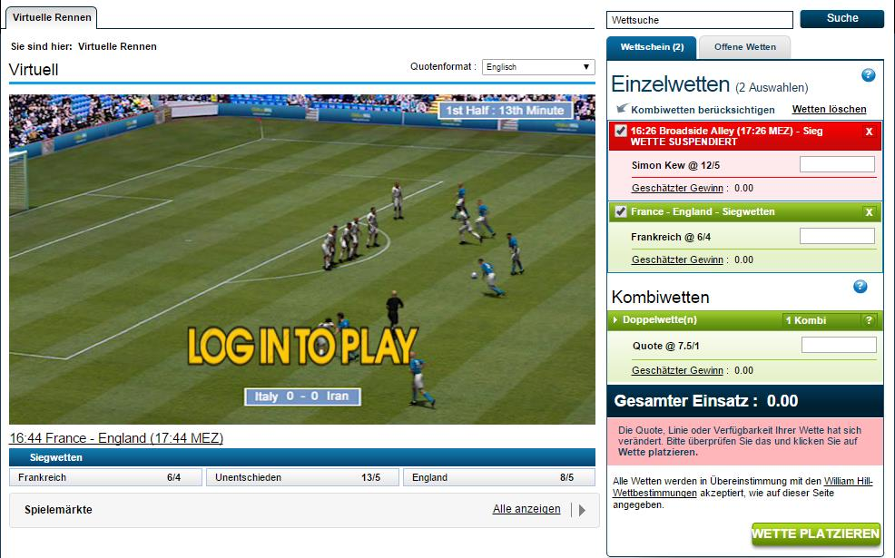 Screenshot des virtuellen Sportangebotes bei William Hill