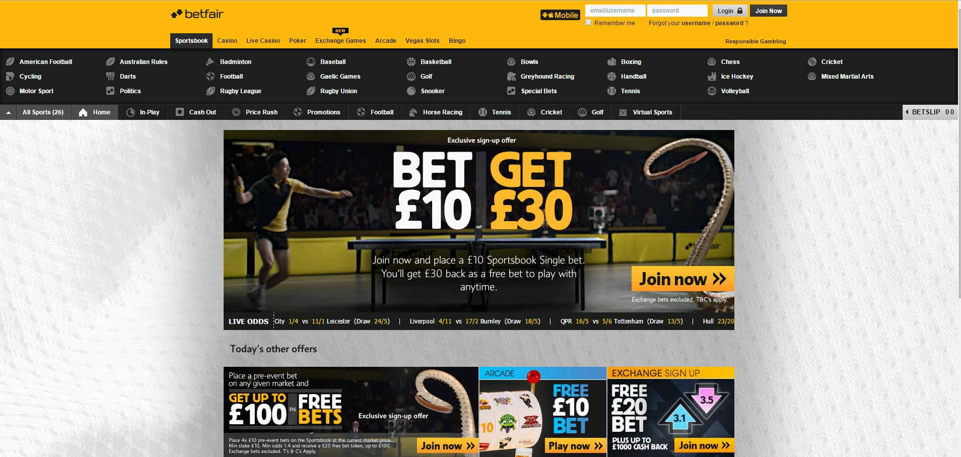 betfair screenshot website