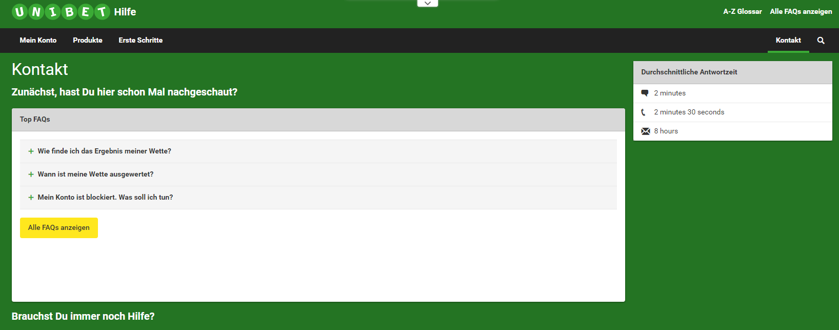 unibet-kontakt screenshot